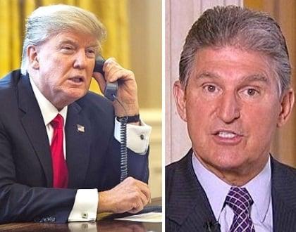 west virginia senator joe manchin donald trump phone call